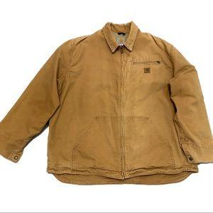 Carhartt Full-Zip Brown Khaki Work Wear Jacket - XXL